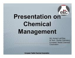 Chemical Management System (CMS) – A Tool to Design Sustainability