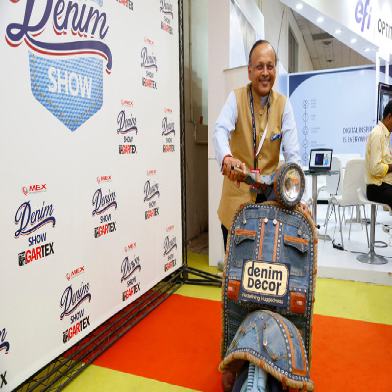 Denim wrapped car at Gartex Texprocess India 2019 to highlight India's position as the world's second largest producer of denim fabric