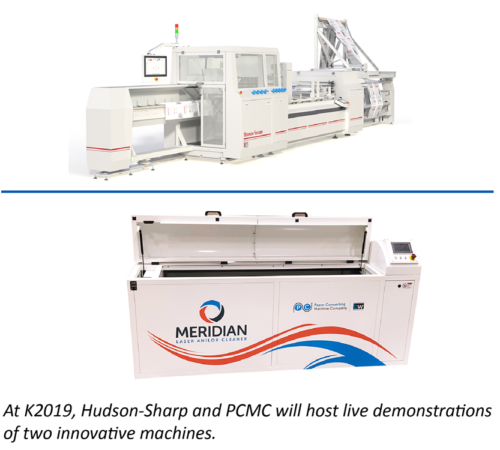 Hudson-Sharp and PCMC to exhibit together at K2019 Joint booth to host demonstrations of Apollo wicketer and Meridian laser anilox cleaner