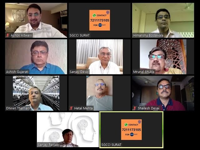 SGCCI, Surat organised webinar with Weaving and Embroidery industry stalwarts.