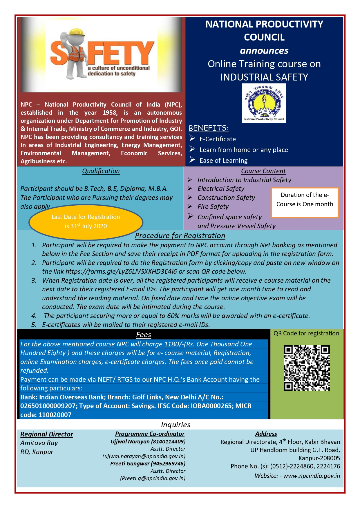 """On-Line Training Course on """"INDUSTRIAL SAFETY"""" by NPC (under Ministry of Commerce & Industry, Govt. of India)"""
