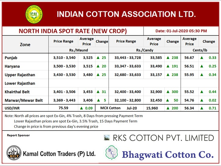 North India Cotton Price, 01st July, 2020