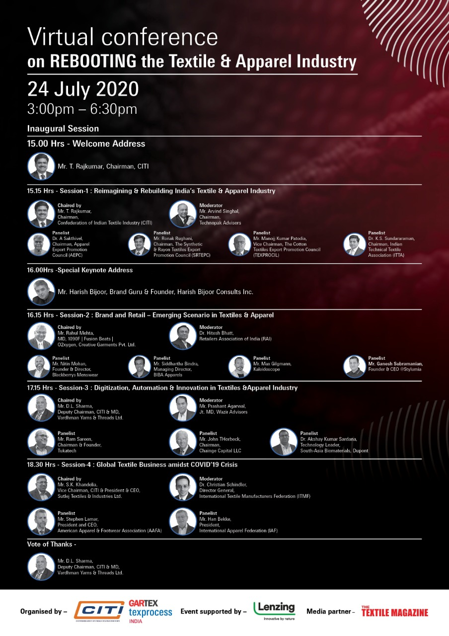 """Register Now (Complimentary) – e-Conference """"Rebooting the Textile & Apparel Industry"""" scheduled for Friday, 24th July 2020 – 1500 Hrs (IST) onwards – reg."""
