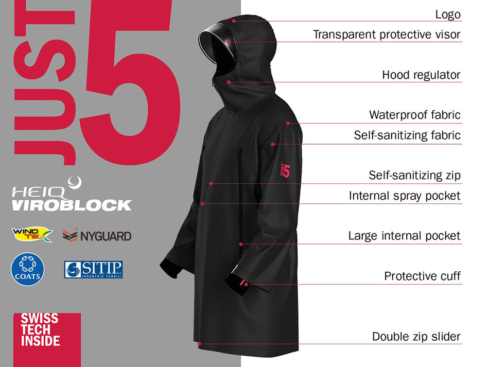 JUST5 HeiQ jacket created by five innovative manufactures