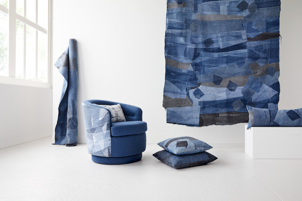 Sustainable fashion brand Eileen Fisher and West Elm Debut Upcycled Denim for the Home