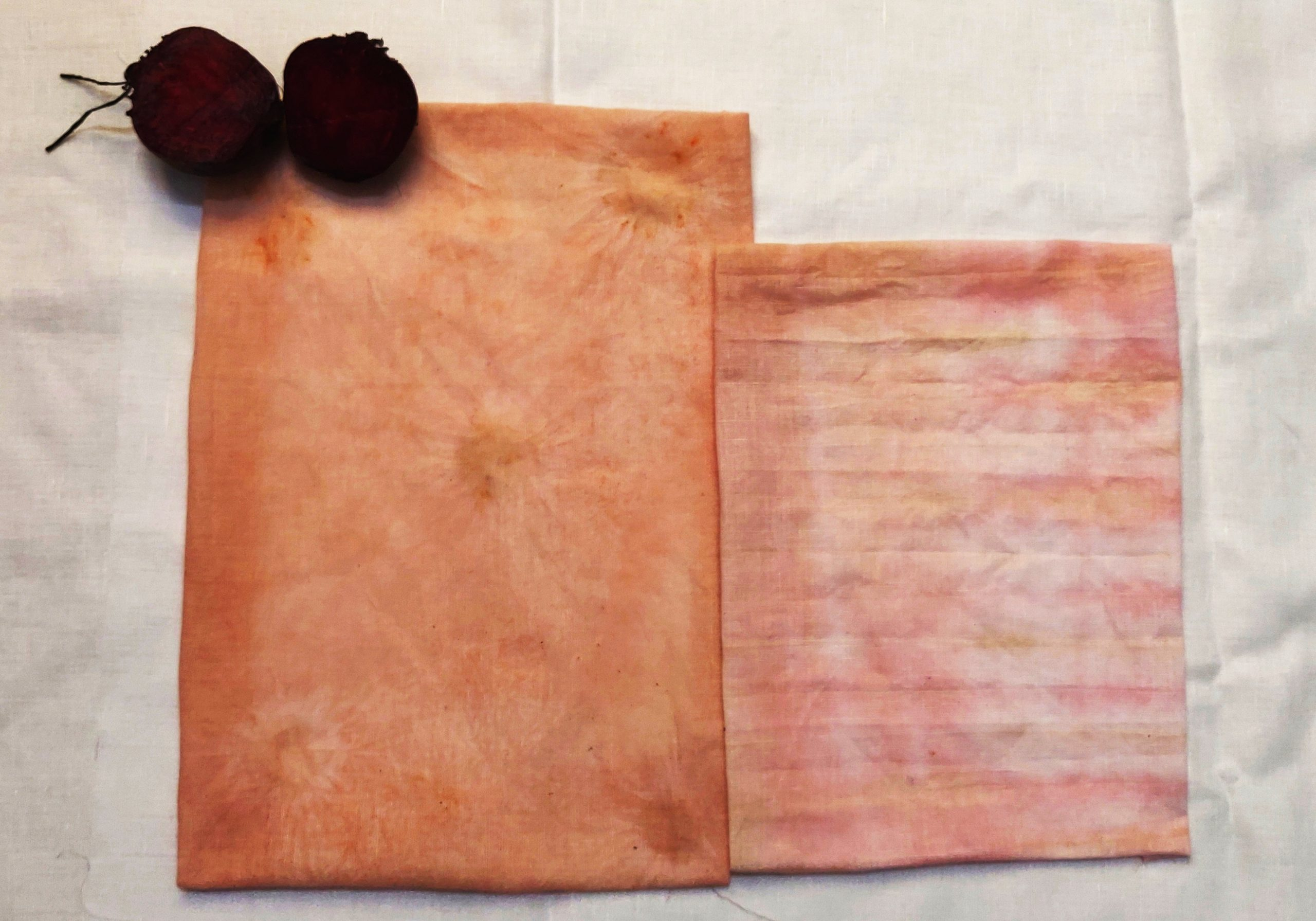 Eco dyeing with Beetroot on Cotton Fabric