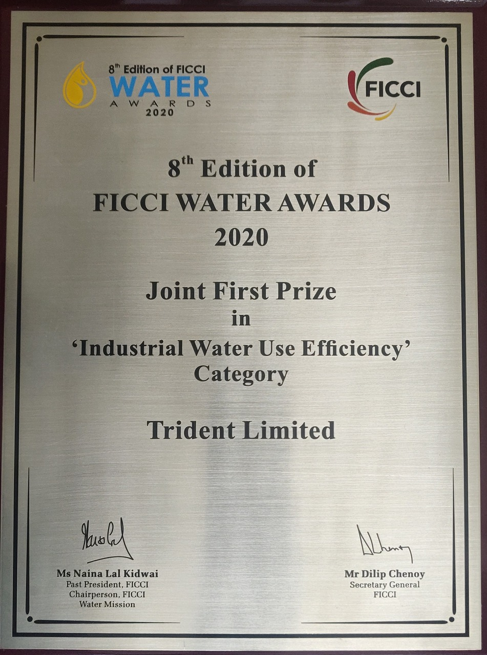 Trident Group Awarded at the FICCI Water Awards