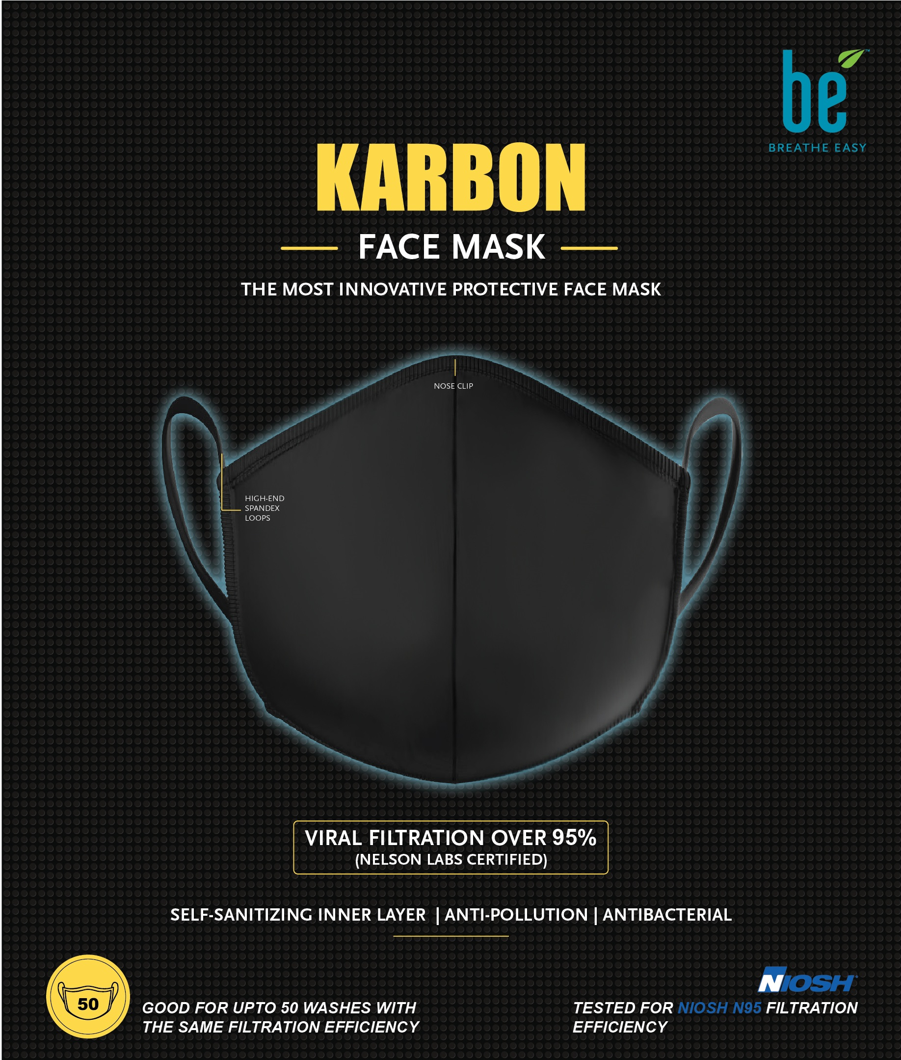 BreatheEasy launches the Unique Self-Sanitising KARBON Face Mask