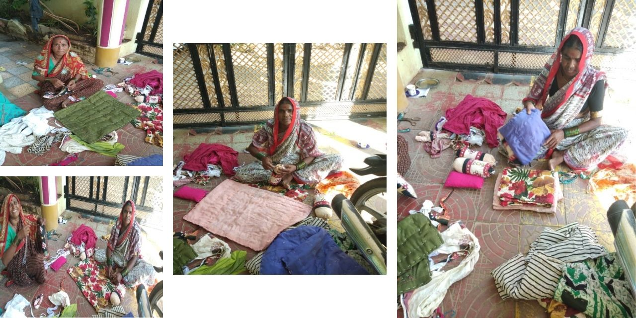 Recycling of old clothes for Godhadi Making-Traditional art of Maharashtra